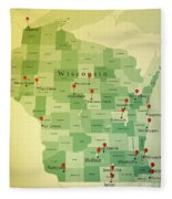 Wisconsin Map Square Cities Straight Pin Vintage Fleece Blanket