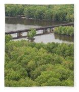 Wisconsin River Overlook 2 Fleece Blanket