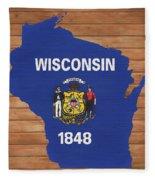 Wisconsin Rustic Map On Wood Fleece Blanket