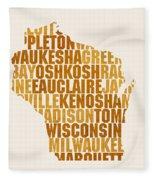 Wisconsin State Outline Word Map Fleece Blanket
