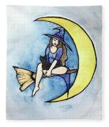 Witch And Moon Fleece Blanket