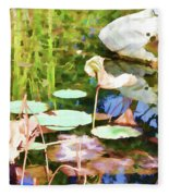 Withered Lotus In The Pond 2 Fleece Blanket
