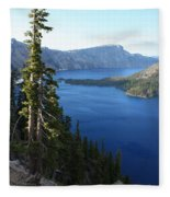 Wizard Island On Crater Lake Fleece Blanket