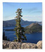 Wizard Island With Rock Fence At Crater Lake Fleece Blanket