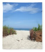 Wladyslawowo White Sand Beach At Baltic Sea Fleece Blanket