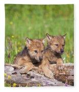 Wolf Cubs On Log Fleece Blanket