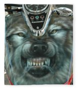 Wolf Motorcycle Gas Tank Fleece Blanket