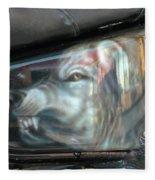 Wolf Motorcycle Side Panel Fleece Blanket