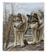 Wolf Pair Fleece Blanket