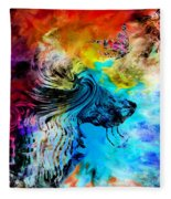 Wolf Playing With Butterflies Fleece Blanket
