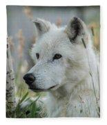 Wolf, White Fleece Blanket