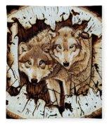 Wolves In Hiding Fleece Blanket
