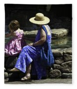 Woman And Child At Pond Fleece Blanket