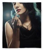 Woman Applying Lipstick Fleece Blanket