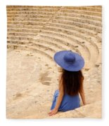 Woman At Greco-roman Theatre At Kourion Archaeological Site In C Fleece Blanket