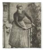 Woman At The Gate Fleece Blanket