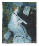 Woman At The Piano Fleece Blanket