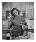Woman Baking In Kitchen, C.1960s Fleece Blanket