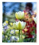 Photographer Behind The Flowers Fleece Blanket