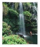 Woman Beneath Waterfall Fleece Blanket