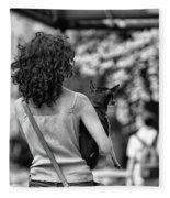 Woman Carry Dog Nyc Blk Wht  Fleece Blanket