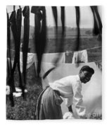 Woman Doing Laundry, C1902 Fleece Blanket
