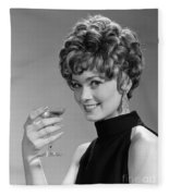 Woman Drinking Champagne, C.1960s Fleece Blanket