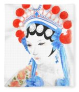 Woman From Chinese Opera With Tattoos -- The Original -- Asian Woman Portrait Fleece Blanket
