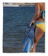 Woman Getting Ready To Go Snorkeling Fleece Blanket
