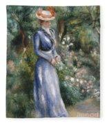 Woman In A Blue Dress Standing In The Garden At Saint-cloud Fleece Blanket