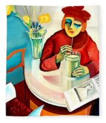 Woman In A Cafe Fleece Blanket
