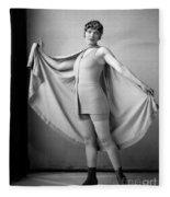 Woman In Bathing Suit And Cape, C.1920s Fleece Blanket