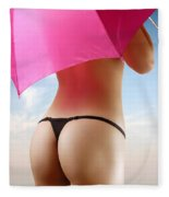 Woman In Bikini With A Pink Umbrella Fleece Blanket