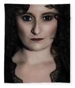 Woman In Black Fleece Blanket
