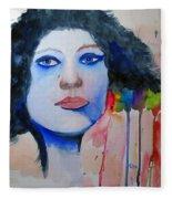 Woman In Blue Fleece Blanket
