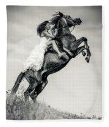 Woman In Dress Riding Chestnut Black Rearing Stallion Fleece Blanket