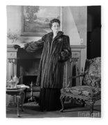 Woman In Fur Coat, C.1940s Fleece Blanket