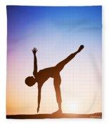 Woman In Half Moon Yoga Pose Meditating At Sunset Fleece Blanket