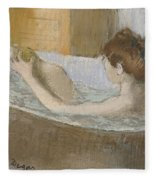 Woman In Her Bath Fleece Blanket by Edgar Degas
