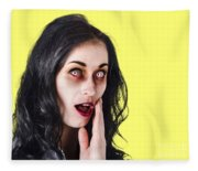 Woman In Horror Makeup Fleece Blanket