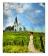 Woman In Lace By A Country Church Fleece Blanket
