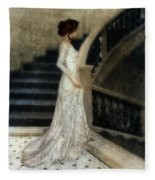 Woman In Lace Gown On Staircase Fleece Blanket