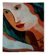 Woman In Orange And Blue Fleece Blanket