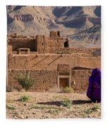 Woman In Purple Fleece Blanket