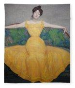 Woman In A Yellow Dress Fleece Blanket