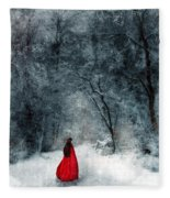 Woman In Red Cape Walking In Snowy Woods Fleece Blanket