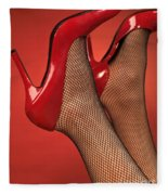 Woman In Red High Heel Shoes Fleece Blanket