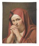 Woman In Red Fleece Blanket