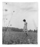 Woman In Summer Meadow, C.1970s Fleece Blanket