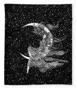 Woman In The Moon Fleece Blanket